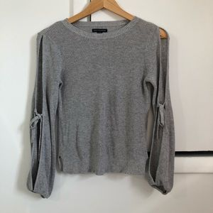 American Eagle Grey Cut Out Sleeve Sweater XS